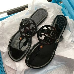 Tory Burch Miller Sandals Patent Leather Black